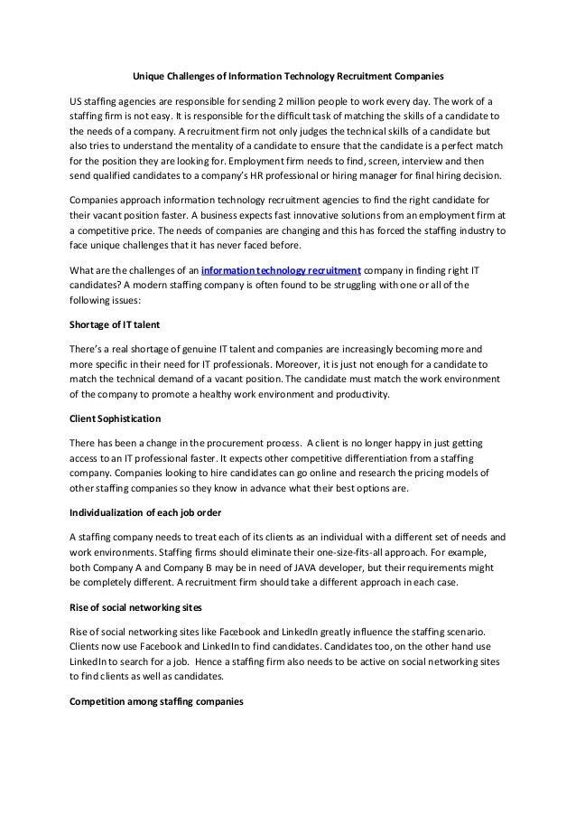 unique challenges of information technology recruitment