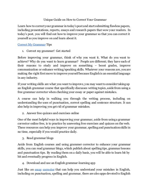 Correct Essays  Underfontanacountryinncom Top  Ways On How To Correct Your Grammar  Reports To Buy also Business Plan Writers San Francisco  College Vs High School Essay