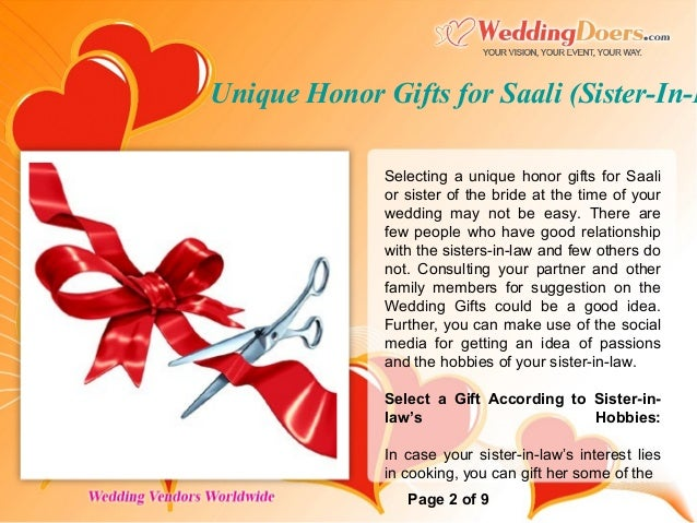 Unique Honor Gifts For Saali Sister In Law