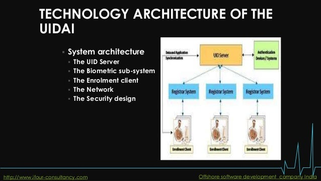 TECHNOLOGY ARCHITECTURE OF THE UIDAI  System architecture  The UID Server  The Biometric sub-system  The Enrolment cli...