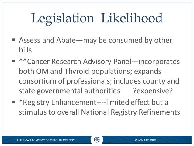 WWW.AAO.ORG 0 AMERICAN ACADEMY OF OPHTHALMOLOGY Legislation Likelihood  Assess and Abate—may be consumed by other bills ...
