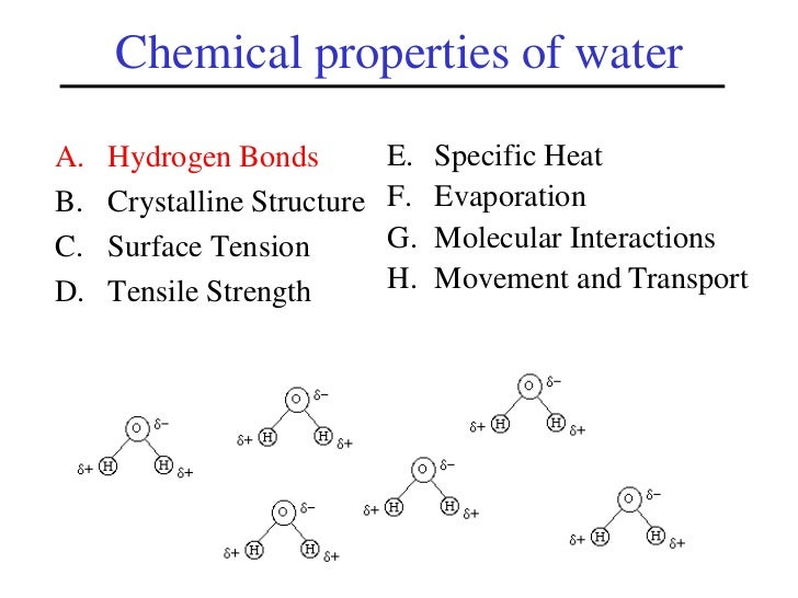 list and define the 7 properties of water