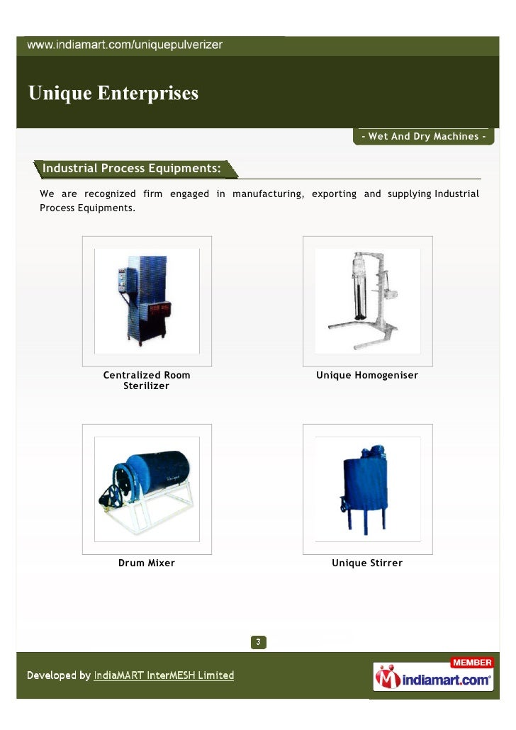 - Wet And Dry Machines -Industrial Process Equipments:We are recognized firm engaged in manufacturing, exporting and suppl...