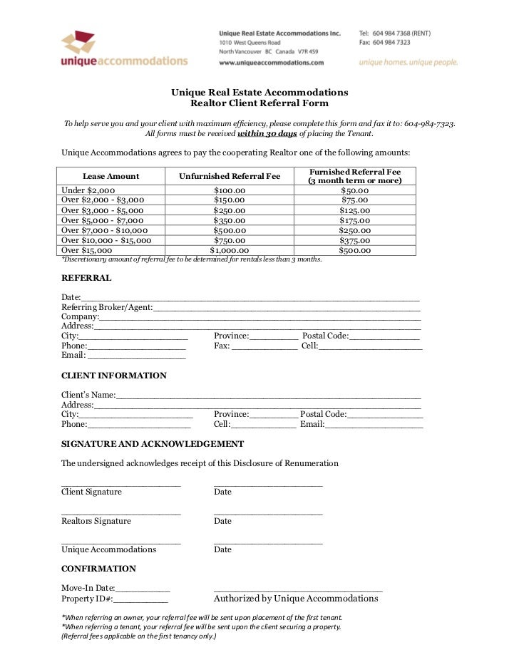 Realtor Client Referral form