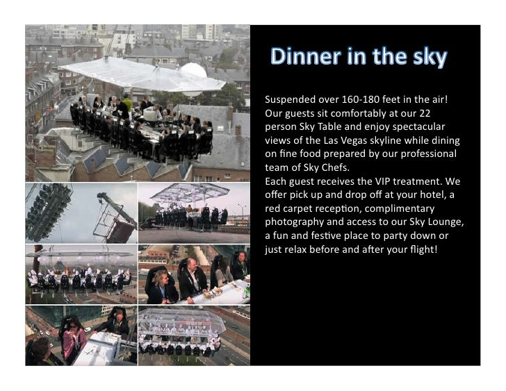Suspended over 160-‐180 feet in the air! Our guests sit comfortably at our 22 person Sky ...