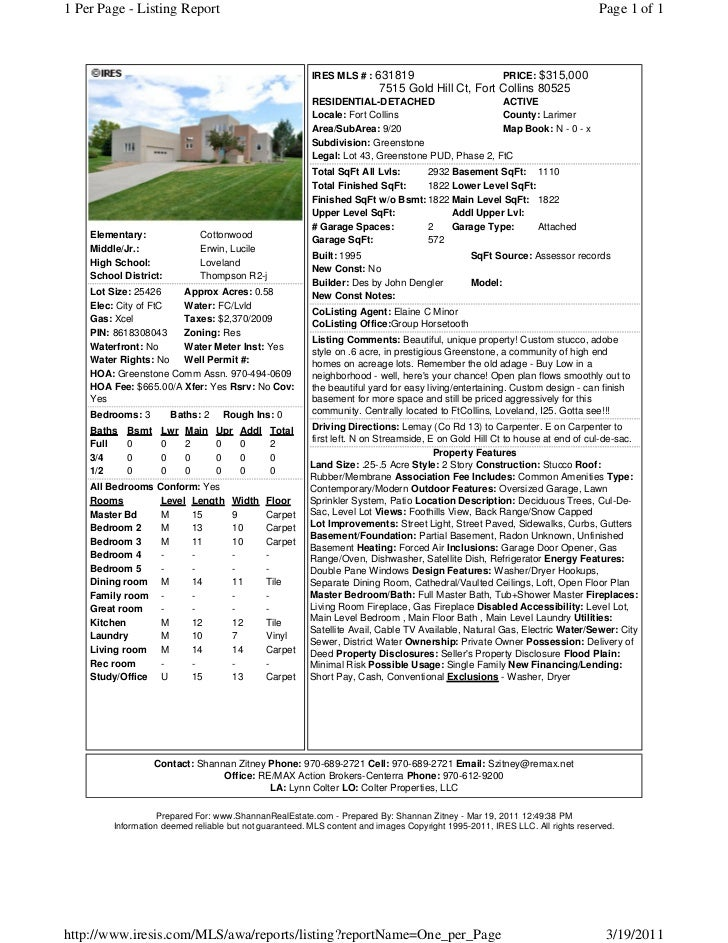 1 Per Page - Listing Report                                                                                               ...