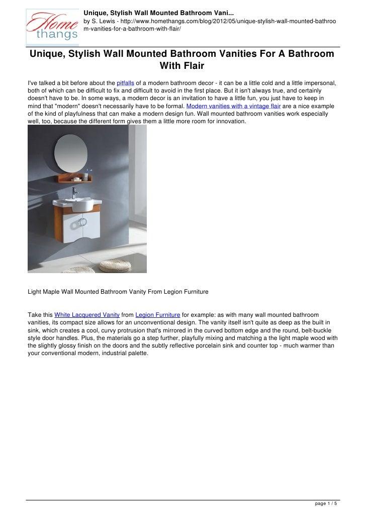 Unique, Stylish Wall Mounted Bathroom Vani...                     by S. Lewis - http://www.homethangs.com/blog/2012/05/uni...