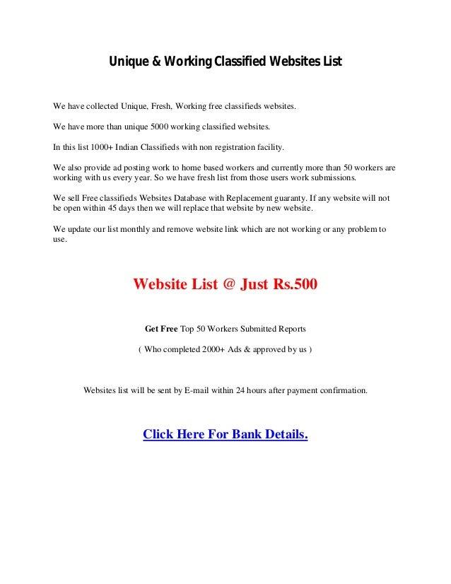 Unique working classified websites list