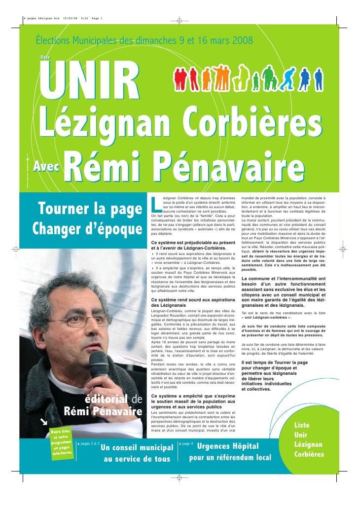 4 pages Lézignan bis    15/02/08   9:22   Page 1           Élections Municipales des dimanches 9 et 16 mars 2008          ...
