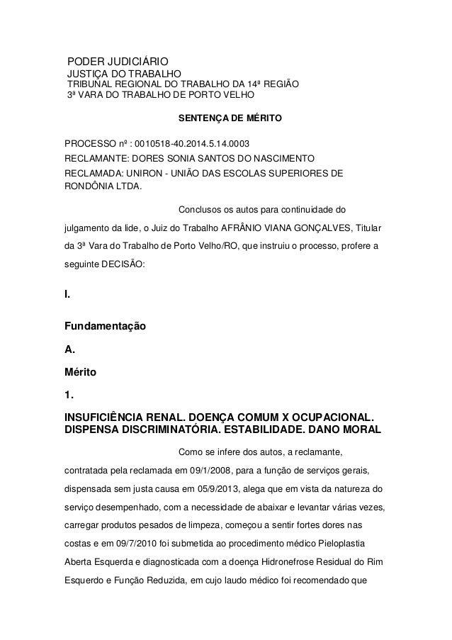 PODER JUDICIÁRIO JUSTIÇA DO TRABALHO TRIBUNAL REGIONAL DO TRABALHO DA 14ª REGIÃO 3ª VARA DO TRABALHO DE PORTO VELHO SENTEN...