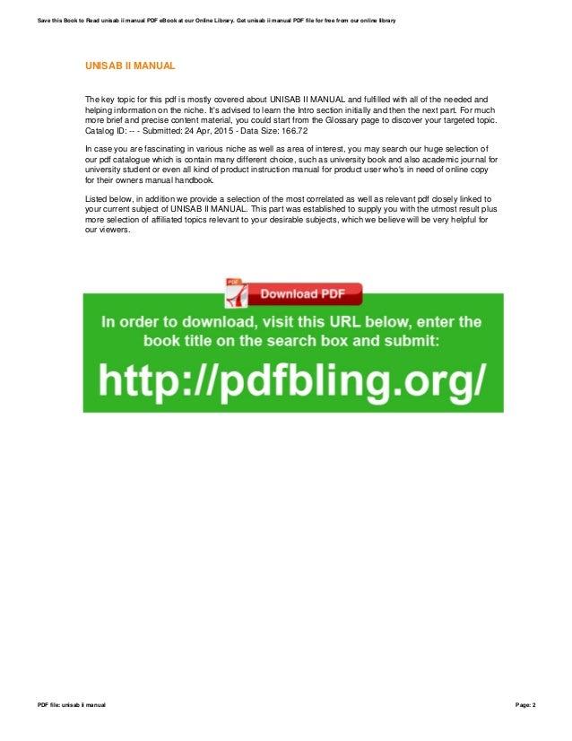 unisab ii manual rh slideshare net unisab ii manual pdf unisab ii manual pdf