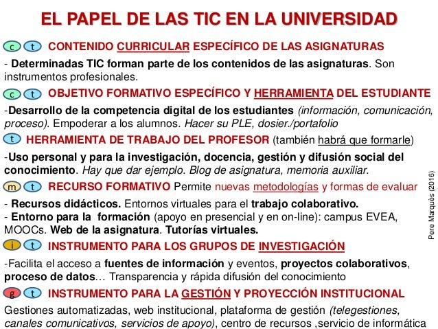EL PAPEL DE LAS TIC EN LA UNIVERSIDAD CONTENIDO CURRICULAR ESPECÍFICO DE LAS ASIGNATURAS - Determinadas TIC forman parte d...