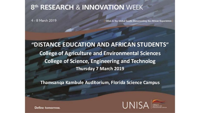 """""""DISTANCE EDUCATION AND AFRICAN STUDENTS"""" College of Agriculture and Environmental Sciences College of Science, Engineerin..."""