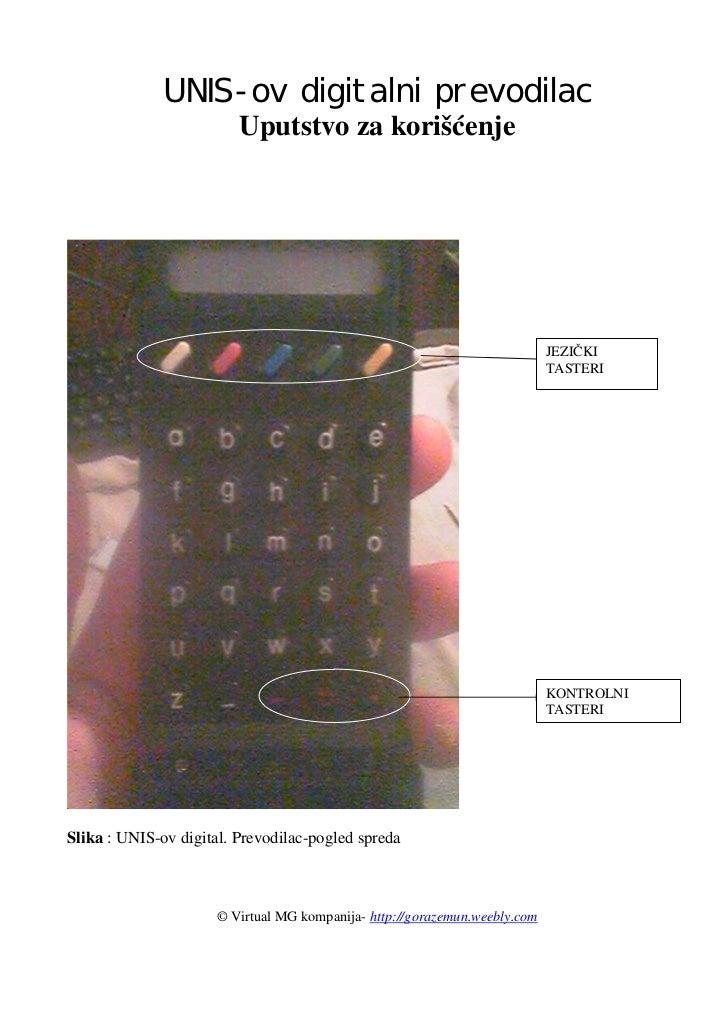 UNIS-ov digitalni prevodilac                         Uputstvo za korišćenje                                               ...