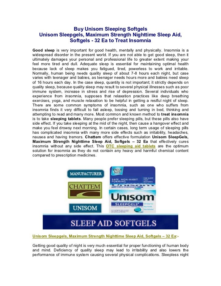 Buy Unisom Sleeping Softgels   Unisom Sleepgels, Maximum Strength Nighttime Sleep Aid,              Softgels - 32 Ea to Tr...