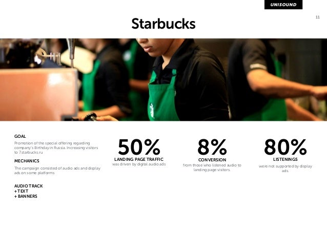 11 Starbucks  GOAL  Promotion of the special offering regarding  company's Birthday in Russia. Increasing visitors  to 7.s...