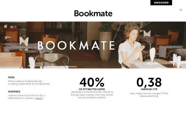 12 Bookmate  GOAL  Attract audience to Bookmate site —  e-reading subscription service Bookmate.  AUDIENCE  Listeners onli...