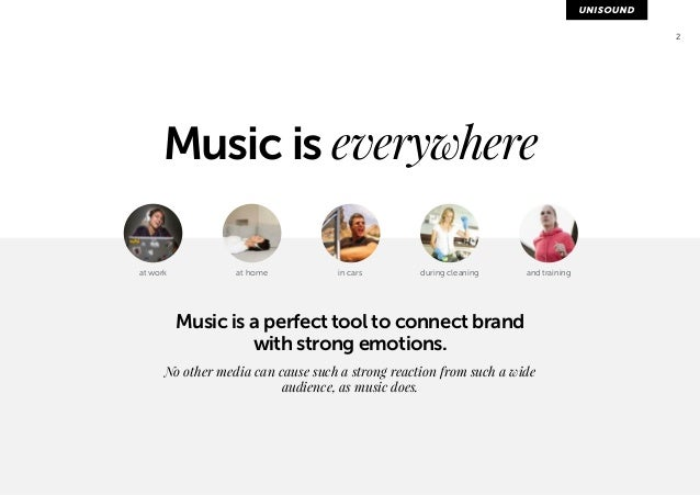 2  Music is everywhere  at work at home in cars during cleaning and training  Music is a perfect tool to connect brand  wi...