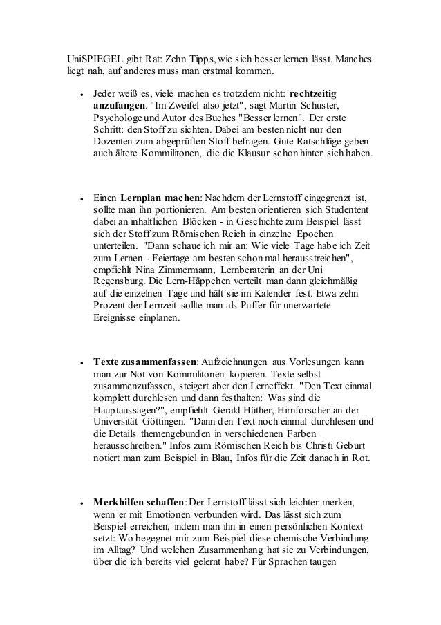 UniSPIEGEL gibt Rat: Zehn Tipps, wie sich besser lernen lässt. Manches liegt nah, auf anderes muss man erstmal kommen.  J...