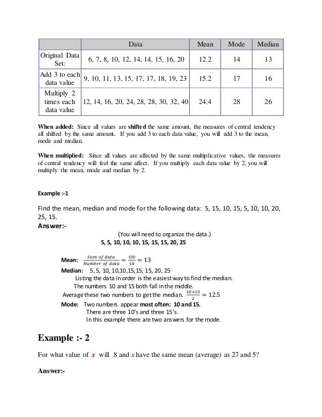 Unit 1 introduction 7 data mean mode median ccuart Images