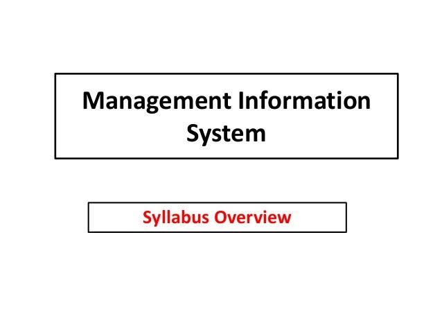 Management Information System Syllabus Overview