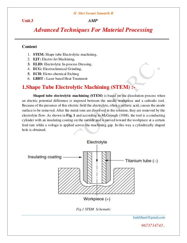 AMP Unit 3 advanced manufacturing techniques for material