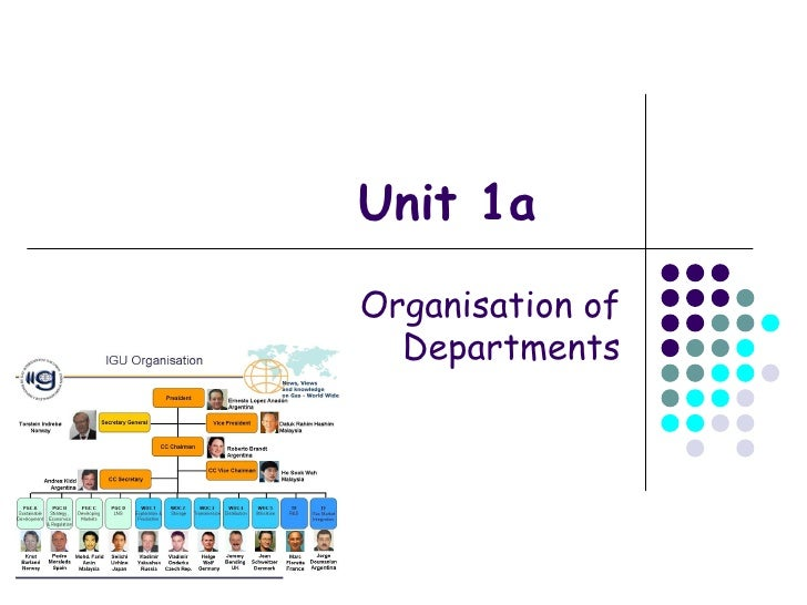 Unit 1a Organisation of Departments