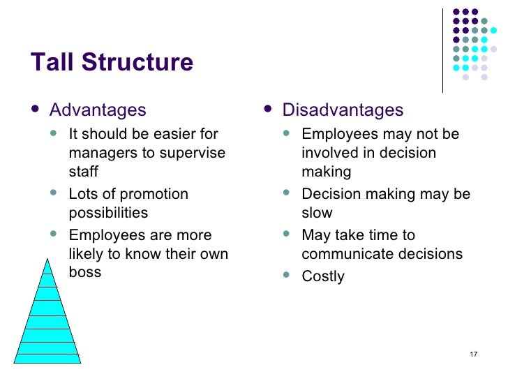 advantages and disadvantages of flat organisation structure 2012-4-18  flat organisation is one which has a small number of levels of management hierarchy delayering is the reduction of the number of management levels from bottom to.