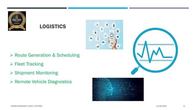 LOGISTICS  Route Generation & Scheduling  Fleet Tracking  Shipment Monitoring  Remote Vehicle Diagnostics 12/26/2020VI...