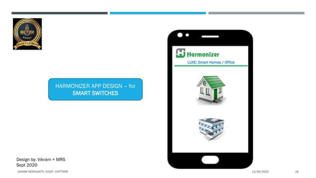 LUXE: Smart Homes / Office HARMONIZER APP DESIGN – for SMART SWITCHES Design by: Vikram + MRS Sept 2020 12/26/2020VIKRAM N...