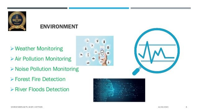 ENVIRONMENT Weather Monitoring Air Pollution Monitoring Noise Pollution Monitoring Forest Fire Detection River Floods...