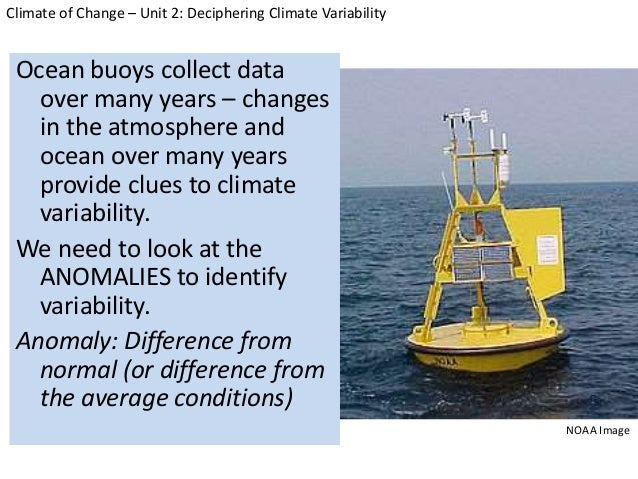 Ocean buoys collect data over many years – changes in the atmosphere and ocean over many years provide clues to climate va...