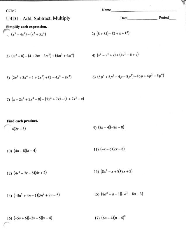 Operations Of Polynomials Worksheet  Breadandhearth