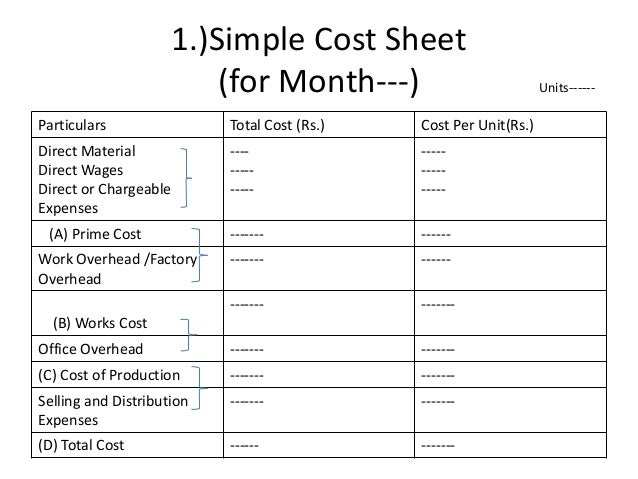 Unit Or Output Costing I