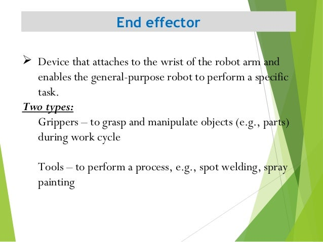 End effector 5  Device that attaches to the wrist of the robot arm and enables the general-purpose robot to perform a spe...