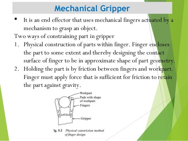 Mechanical Gripper 8  It is an end effector that uses mechanical fingers actuated by a mechanism to grasp an object. Two ...