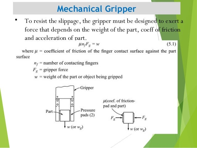 Mechanical Gripper 9  To resist the slippage, the gripper must be designed to exert a force that depends on the weight of...