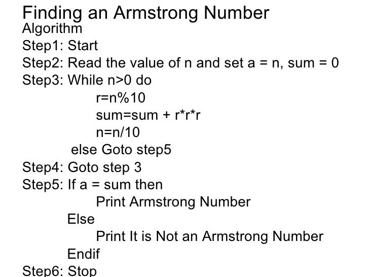 Write an algorithm for armstrong number meaning