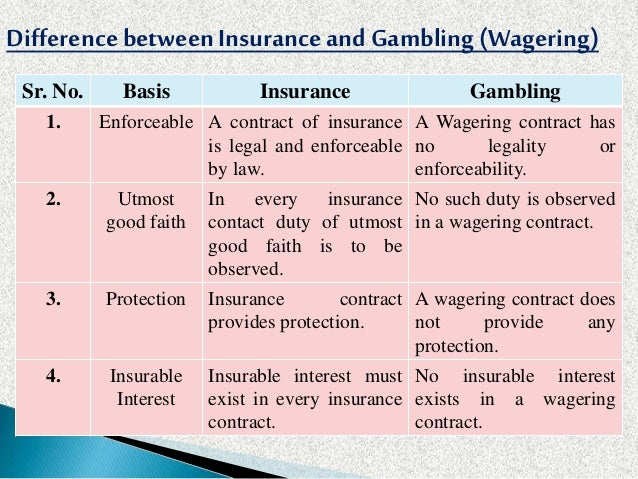 Difference between insurance and gambling is blackjack dead outlander