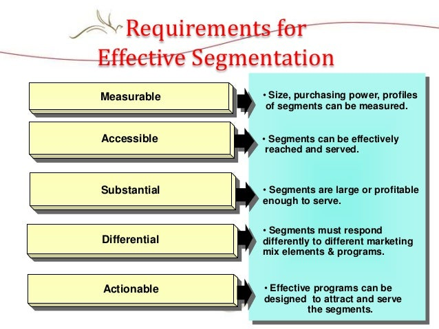 • Size, purchasing power, profiles of segments can be measured. • Segments can be effectively reached and served. • Segmen...