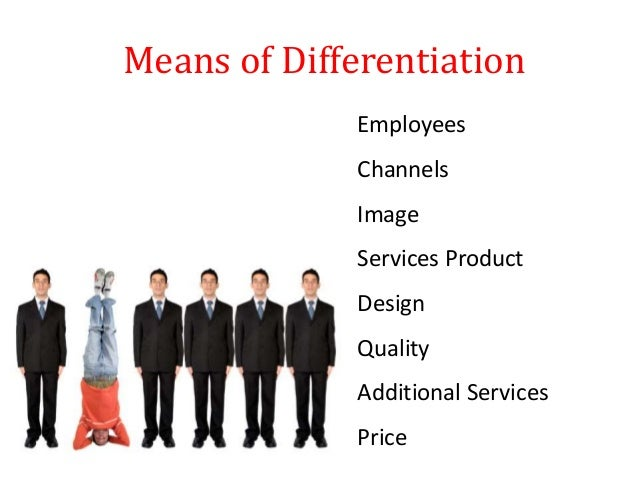 Means of Differentiation Employees Channels Image Services Product Design Quality Additional Services Price