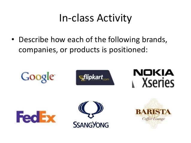 In-class Activity • Describe how each of the following brands, companies, or products is positioned: