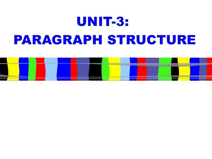 UNIT-3:  PARAGRAPH STRUCTURE