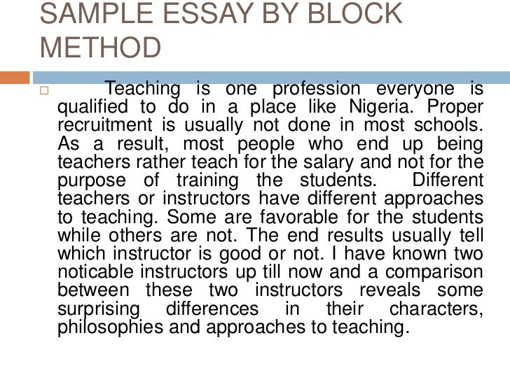 unit comparison contrast essay  sample essay by block method<br > teaching