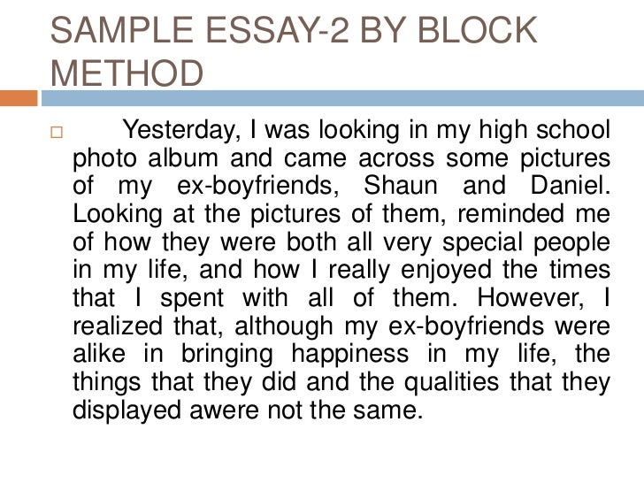 writing a compare and contrast essay using block method