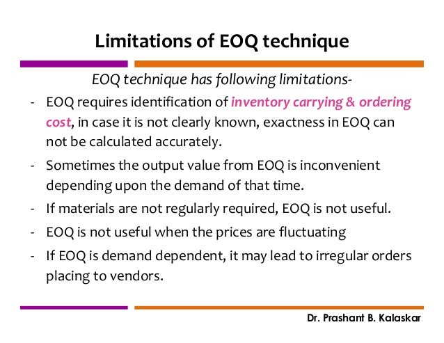 limitation of eoq model