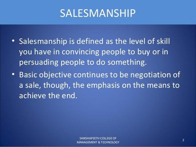Salesmanship and sales promotion