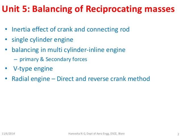 Balancing of reciprocating masses Slide 2