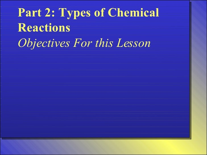 Part 2: Types of Chemical Reactions Objectives For this Lesson