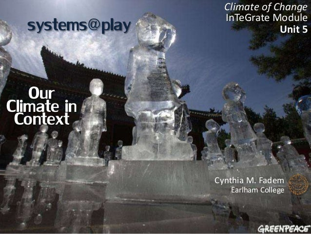 systems@play Cynthia M. Fadem Earlham College Climate of Change InTeGrate Module Unit 5 Our Climate inContext